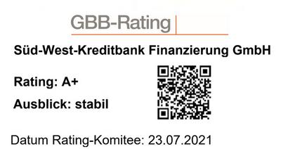 GBB-Rating der SWK Bank: A+ stabil (07/2021)