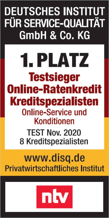 DISQ Testsieger Online-Ratenkredit