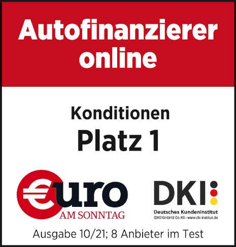 Platz 1 für die Autokredit-Konditionen beim Deutschen Kundeninstitut (DKI)